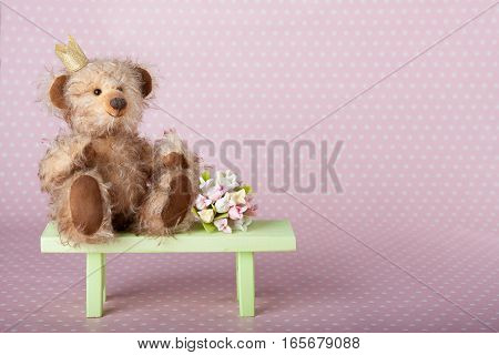 Cute teddy bear in crown sitting on a green bench on a pink polka dot background.