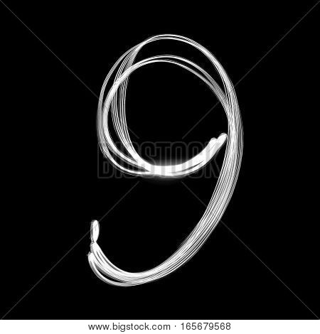 The number - 9 written with light at night