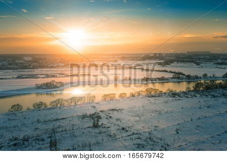 picturesque sky with clouds. Landscape on the river
