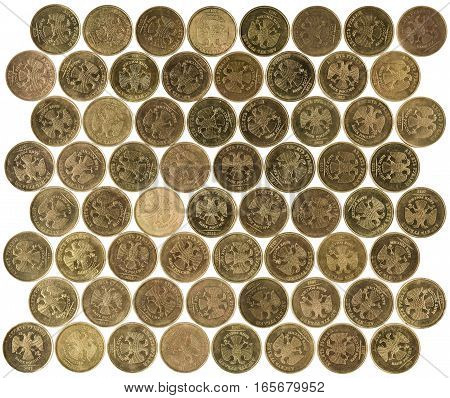 isolated ruble coins on white background mosaic