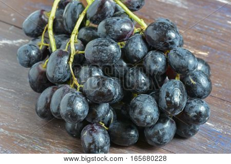 A bunch of dark grapes on a white or brown background.