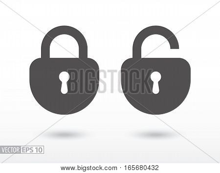 Lock flat icon. Sign Lock. Vector logo for web design, mobile and infographics. Vector illustration eps10. Isolated on white background.