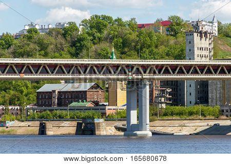NIZHNY NOVGOROD, RUSSIA - MAY 09, 2016: Embankment of the Oka River near Metro Bridge on Chernigov Street in Nizhny Novgorod