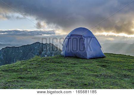 Tent At Top Of Mountain, Quilotoa, Ecuador