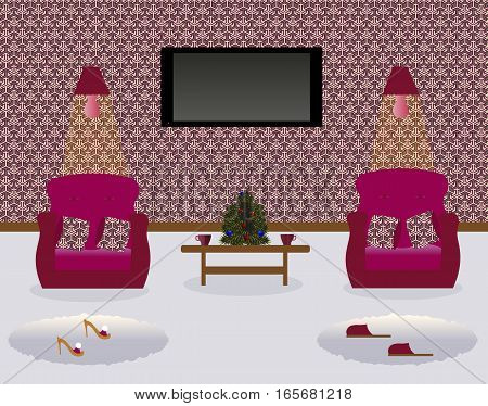 A living room with a coffee table.Turned on lamps on the wall. Two armchairs witn decorative pillows. Сarpets. Sexy cute slippers with high heels. Flat screen TV.Christmas tree. Vector illustration.