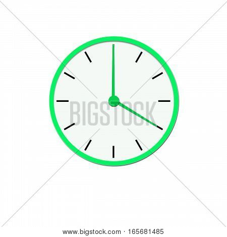 Clock icon, illustration of a flat design with long shadow.   green clock  , no background