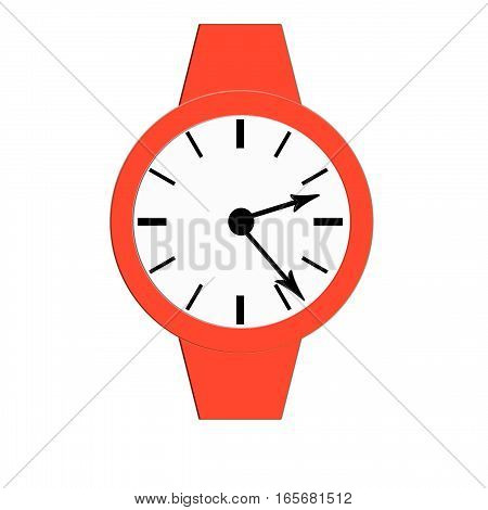 Clock icon, illustration of a flat design with long shadow.  red clock, no background