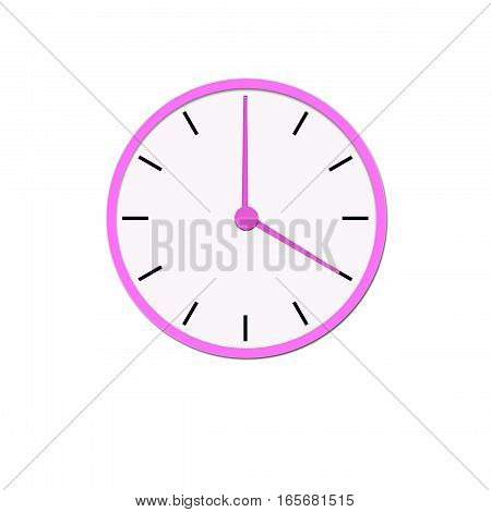 Clock icon, illustration of a flat design with long shadow. pink clock, no background