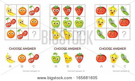 IQ test. Choose correct answer. Logical tasks made up of fruits and vegetables. Funny cartoon character. Vector illustration poster