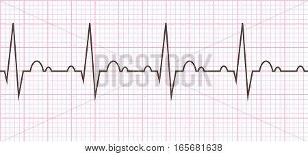 Cardiac cycle. Heart beat cardiogram line. Vector illustration eps10.