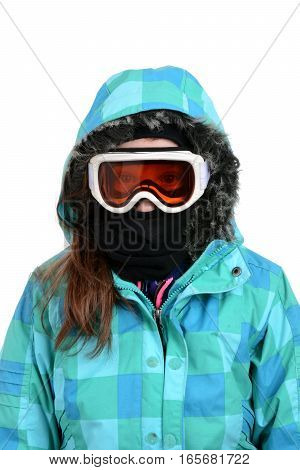 young girl in ski gear isolated white background