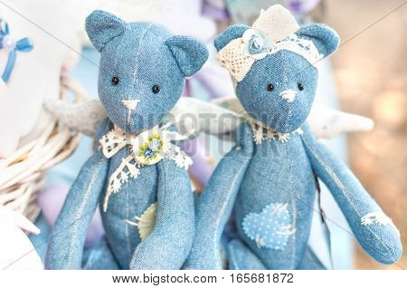 Two toy bear denim - a boy and a girl