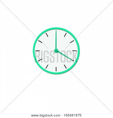 Clock icon, illustration of a flat design with long shadow.   green clock  no background