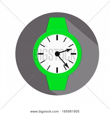 Clock icon, illustration of a flat design with long shadow.   green clock