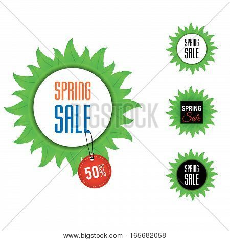 Spring Sale On Leaves With Tag Icon Set Color Illustration