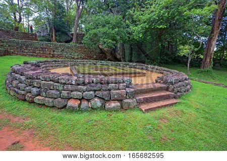 Ruins of ancient palace complex of Sigiriya in Sri Lanka
