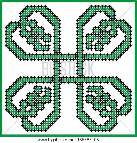 Celtic style endless knot pattern in square style clover shape with hearts elements in tile, in  black and green cross stitch  inspired by Irish St Patrick's day and ancient Scottish culture