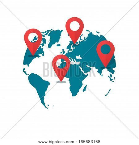 World map with destination pins vector, concept of global gps transportation logistic, find geo location pointer, geolocation, shipping marker, location international shipping navigation, delivery