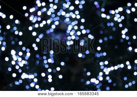 beautiful blue lights in the New Year holidays in the night