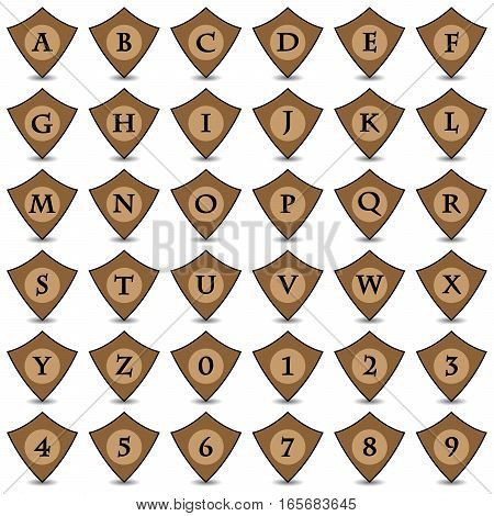 Collection of 36 isolated brown icons on white background with shadows - alphabet (letters) and numerals, shield pattern