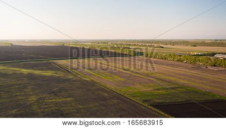 Countryside Agricultural Fields From Bird's Eye View