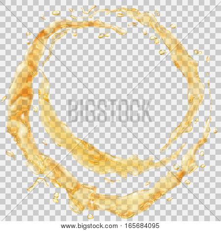 Water Splashes In The Form Of A Half Ring And Water Drops. Transparency Only In Vector File