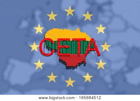 Ceta - Comprehensive Economic And Trade Agreement On Euro Background, Lithuania Map