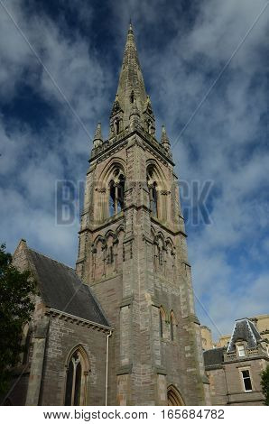 A view of a tall spire in Perth