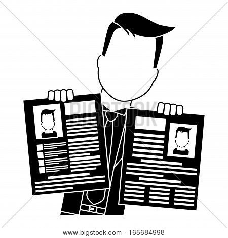 businessman with curriculum vitae page over white background. vector illustration