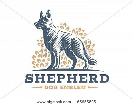 Shepherd dog logo - vector illustration, emblem design on white background
