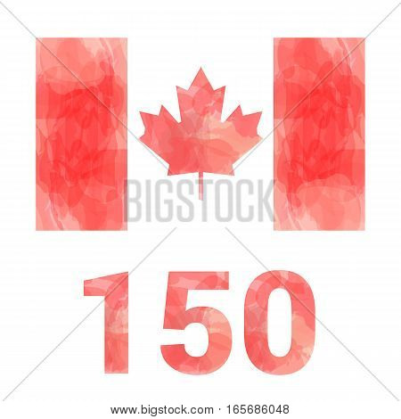 Vector Canada flag - anniversary 150 years - isolated on white background