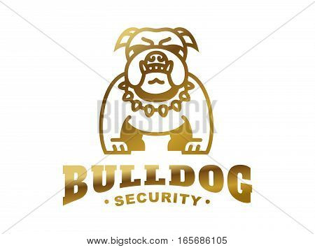Bulldog logo - vector illustration, golden emblem design on white background