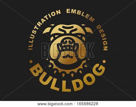 Bulldog head logo - vector illustration, golden emblem design on black background