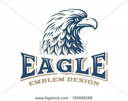 Eagle head logo - vector illustration, emblem design on white background