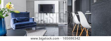 Studio Flat With Black Wardrobe
