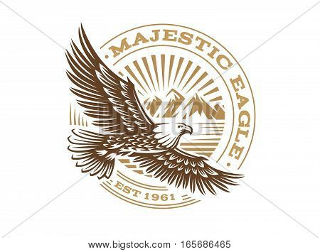 Eagle logo - vector illustration, emblem design on white background