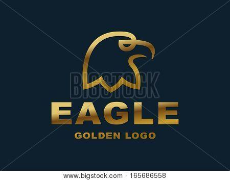 Eagle head logo - vector illustration, golden emblem design on dark background