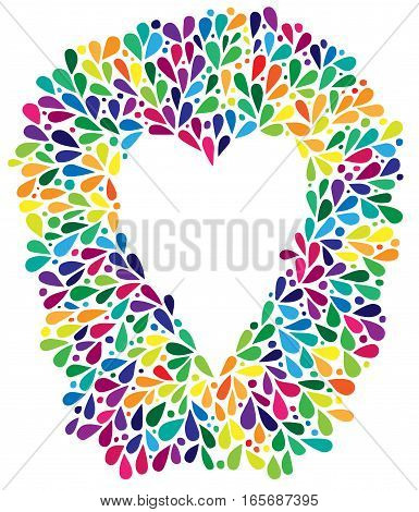 Heart in colorful frame. Can be used for Valentines day card invitation posters texture backgrounds placards banners.