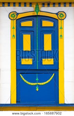 artisan colourful colonial style door in Salento Colombia