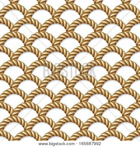 Seamless pattern background yellow rope woven isolated on white