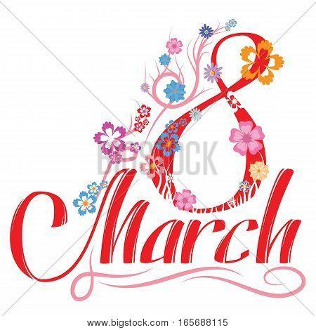 Womens day greetings hand lettering. Vector EPS 10 . Stock Illustration