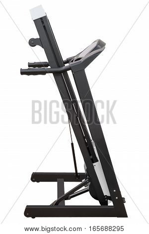 Treadmill fitness equipment isolated on white background assembled raised.