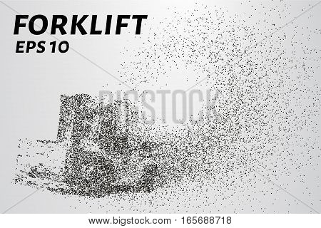 Forklift is composed of particles. Forklift consists of dots and circles. Vector illustration.