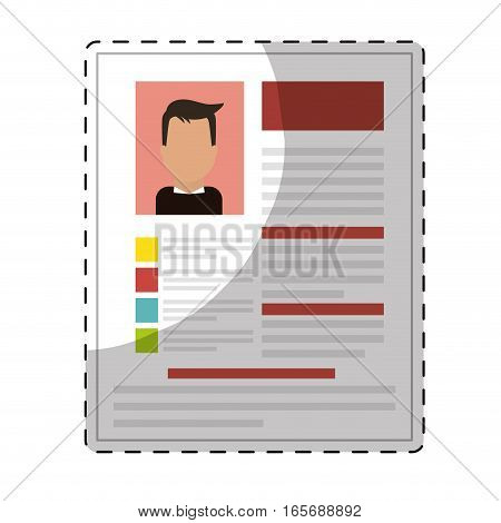 curriculum vitae page over white background. human resources concept. colorful design. vector illustration