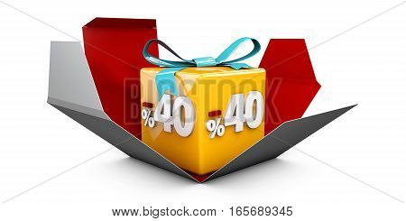 3D Illustration Red Discount 40 Percent Off And In The Gray Box.