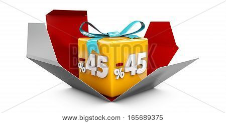 3D Illustration Red Discount 45 Percent Off And In The Gray Box.