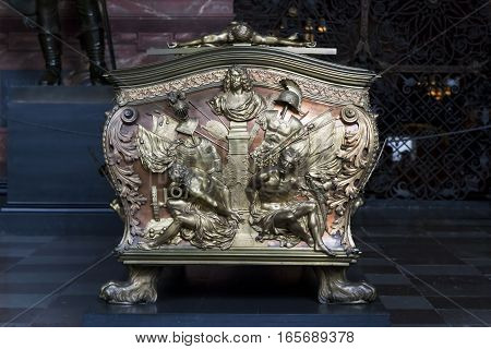 ROSKILDE, DENMARK - JUNE 29, 2016: This is the fragment of the tomb of the royal tombs in the chapel of Christian IV.