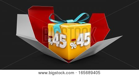 3D Illustration Red Discount 45 Percent Off And In The Gray Box On Black Background.
