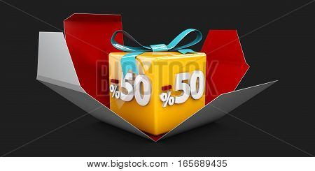 3D Illustration Red Discount 50 Percent Off And In The Gray Box On Black Background.
