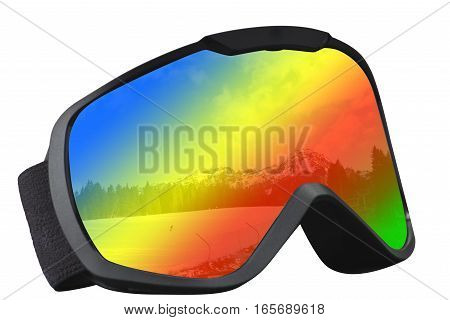 skier mask with reflection of the ski and rainbow